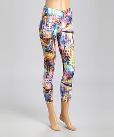 Another great find on #zulily! Blue Rainbow City Leggings by RiV #zulilyfinds