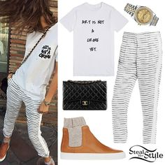 Zendaya posted a photo on instagram a few weeks ago wearing a tee similar to this Skreened Art Is Not A Crime Yet T-Shirt ($28.88), Armani Exchange Striped Tencel & Linen Pants ($120.00, sold out), MM6 Maison Margiela Chelsea Sneakers ($540.00), her Chanel Large Classic Flap Bag ($6,000.00), and her Rolex Datejust Oyster 36 mm Steel, Yellow Gold and Diamonds Watch (not available online).
