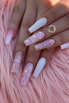 Acrylic Nails Coffin Pink, Coffin Nails Long, Summer Acrylic Nails, Summer Nails, Fall Nails, Acrylic Nails Glitter Ombre, Colored Acrylic Nails, Pink Coffin, Acrylic Art