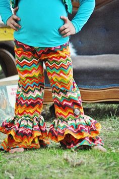 Girls Double Ruffle Pants in Chevron Crayon Box Ruffle Pants