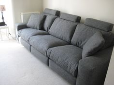 Large 3 seat sofa that is reasonably high, firm to the seat and deep.  Comes in fabric and leathers as well as variety of sizes, choice of wood colour feet and arm widths.