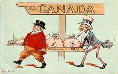 Uncle Sam Man Carries Money Bags from US to Canada Comic Postcard Canada Economy, Paper Industry, O Canada, Advertising Poster, Ads, Political Cartoons, Carry On, Investing, History