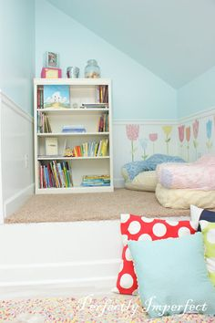Playroom Reveal!! | Perfectly Imperfect Blog (paint color is valspar sea breathe)