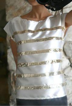 DIY Clothes DIY Refashion DIY Clothes Refashion: DIY J.Crew sequin rows silk tee