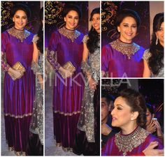 Madhuri Dixit in Manish Malhotra floor length anarkali,. love her minimalism to jewels and looked lovely as always