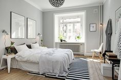 Gray bedroom wall paint in 100 examples - Bedroom Grey Bedroom Colors, Grey Bedroom Design, Gray Bedroom Walls, Grey Bedrooms, Trendy Bedroom, Airy Bedroom, Grey Room, Bedroom Décor, Gray Walls