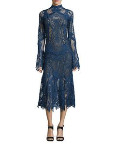 Lace+Mock-Neck+Midi+Flare+Dress,+Navy+by+Jonathan+Simkhai+at+Neiman+Marcus.