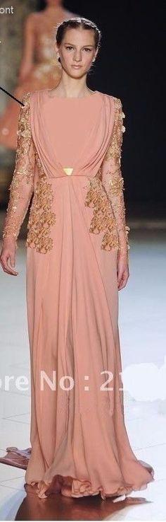 Elie Saab 2012  designer Inspired long sleeve gown, islamic Abaya dress
