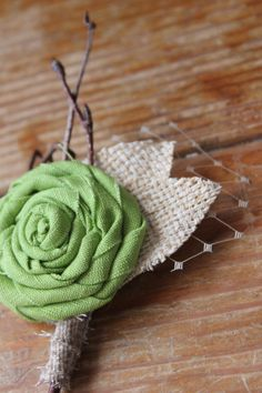 Rustic Country Burlap & Lime Wedding Boutonnieres by dustyLuck