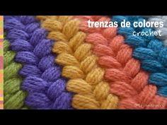 Crochet: ¡Cobija o manta llena de color tejida en punto cesta con borde de pompones! - YouTube