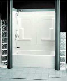 White Fiberglass Shower With Glass Beams, fiberglass shower base, fiberglass shower cleaner ~ Home Design Bathroom Doors, Shower Doors, Bathrooms, Fiberglass Shower Stalls, Tub With Glass Door, Bathtub Shower, Bath Tub, Tub Remodel, Door Price