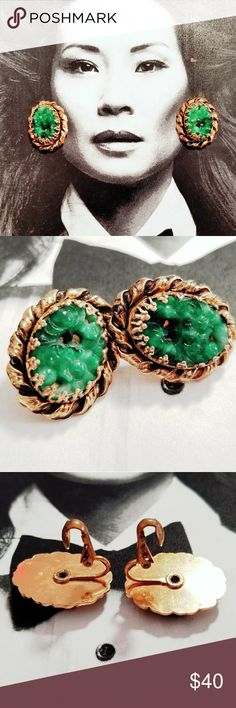 """Vintage Green Peking Glass and gold tone earrings Vintage carved green floral Peking Glass and gold tone clip earrings. Clips are sturdy and in good working order. Measures just under an inch ling and .75"""" wide. Excellent vintage condition reasonable offers welcome and accepted. Add to a bundle and I can offer you a great deal! Vintage Jewelry Earrings"""