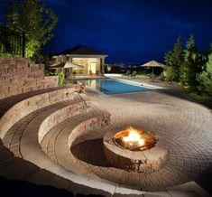 sichere Feuerstelle selber bauen in der nähe vom Gartenpool
