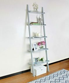 HomeZone Large Grey 5 Tier Ladder Shelf Storage Unit Shelving Rack Home Decor Wall Stand Gray Display Unit Plant Stand Book Case Modern MDF: Amazon.co.uk: Kitchen & Home Bookcase, Storage Shelves, Mdf Shelving, Ladder Storage, Shelving, Ladder Bookcase, Declutter Your Home, Home Decor, Shelving Racks