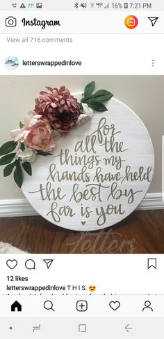 For all the things my hands have held the best by far is you three, DIY and Crafts, For all the things my hands have held the best by far is you three. Wood Crafts, Diy And Crafts, Decor Crafts, 365 Jar, Craft Projects, Projects To Try, Cricut, Diy Signs, Girl Nursery