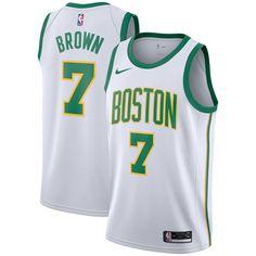 590f782f142 Men's Boston Celtics Jaylen Brown Nike White City Edition Swingman Jersey