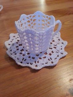 free crochet cup and saucer pattern - Yahoo Image Search Results Annie's Crochet, Easter Crochet, Thread Crochet, Crochet Gifts, Crochet Flowers, Crochet Stitches, Yarn Projects, Crochet Projects, Crochet Designs