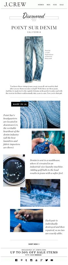 DENIM - I like how denim and its production is the focus here. I don't think we would delve into its manufacture but I think we could display details (buttoning, pockets and zips) like this.