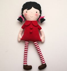 Personalized red doll. Child friendly stuffed doll for girls.