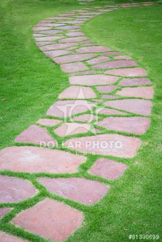 The Stone block walk path in the park
