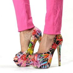 Shoespie Colorful Drawing Peep-Toe Heels From The Plus Size Fashion Community At www.VintageAndCurvy.com