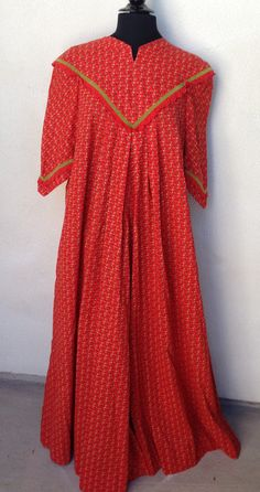 Reserve Brienne Vintage MuuMuu long dress red calico print by