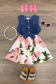Pink Lemon Denim Dress - Sparkle In Pink Little Girl Outfits, Kids Outfits Girls, Little Girl Dresses, Toddler Outfits, Girls Dresses, Cute Outfits, Girls Fashion Clothes, Baby Girl Fashion, Kids Fashion
