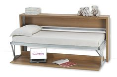 The Joker Desk-bed is a transformable system made up of a desk and a bed. An easy movement enables you to pull down a bed ready for use without moving any objects from the desk. Optional: Bookcase cm h 89x214x29. (Priced with mattress: $3367.00 Too rich for my blood! The basic concept seems hackable though - albeit, without hydraulic lifts!) It is a very good tiny-house sized design, especially if climbing a ladder to a sleeping loft is impractical.