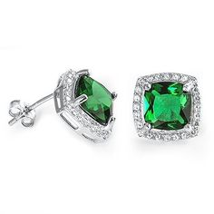 3.00 Carat Cushion Cut Emerald Green Round Clear White CZ Solid 925 Sterling Silver Halo Engagement Stud Post Earrings Bridesmaid Gift