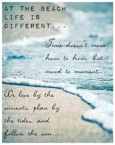 """Sea ~ """"At the beach, life is different. Ocean Beach, Beach Bum, City Beach, Pebble Beach, Beach Waves, Ocean Waves, Beach Quotes, Ocean Quotes, Summer Quotes"""