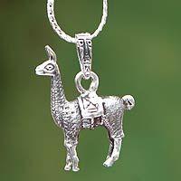 Novica   Silver pendant necklace, 'Little Llama'