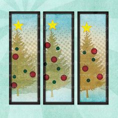 CHRISTMAS TREES Digital Collage Sheet - no. 0195, $3.99 :: Printable 1x3in images of Christmas trees. Digital art by Rowan Tree. Great for use as gift tags!