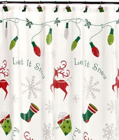christmas shower curtain matching hooks - Christmas Shower Curtain Set