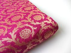 Magenta pink silk brocade india gold branches fabric by SilksByUmf, $10.50