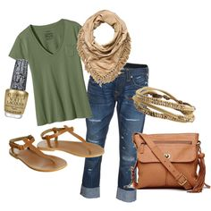 Gold and green outfit with matching gold nail polish