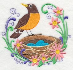 """Spring Robin & Nest - 2 sizes Spring Robin and NestProduct ID:K9834 Size:5.22""""(w) x 4.84""""(h) (132.6 x 122.9 mm)Color Changes:12 Stitches:30665Colors Used:12"""