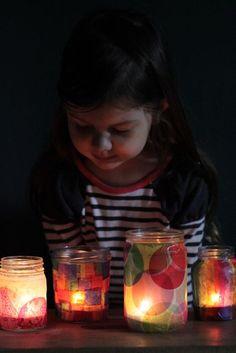 Tissue Paper Jam Jar lanterns for little kids - Jesus is the Light Day 4