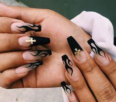 Faux Ongles Halloween, Halloween Acrylic Nails, Acrylic Nails Coffin Short, Summer Acrylic Nails, Best Acrylic Nails, Coffin Acrylics, Black Coffin Nails, Simple Acrylic Nails, Halloween Nail Designs