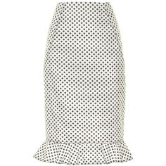 Oscar De La Renta Daisy-print cotton skirt ($345) ❤ liked on Polyvore featuring skirts, white pencil skirt, daisy print skirt, cotton pencil skirt, cotton skirts and white knee length skirt