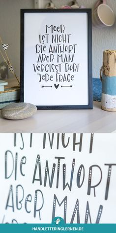 Meer is not the reply aber man vergisst dort jede frage! - Meer is not the reply aber man vergisst dort jede frage! Meer is not the reply aber man vergisst dort jede frage! Brush Lettering, Hand Lettering, Cute Text, Words Quotes, Sayings, Quotation Marks, More Than Words, True Words, Inner Peace
