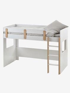 Lit mezzanine mi-hauteur Everest Blanc/bois - vertbaudet enfant