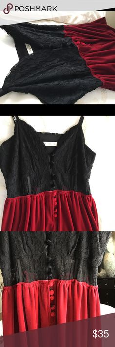 Velvet Lace Suede Dress, Size Sm Beautiful, very feminine, Black and Blood Red Suede Dress. Sweetheart neck-line, with an adorable button-down front.  It makes the perfect Valentine Night Dress ir a romantic evening out 💄💋😍 Better Be Dresses Asymmetrical
