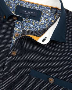Pindot and floral inner placket, Ted Baker UK Look Fashion, Mens Fashion, Fashion Outfits, Le Polo, Navy Man, Polo T Shirts, Crazy Shoes, Bag Accessories, Casual Shirts