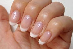 CND Shellac French manicure Cream Puff and Romantique (x2), topped with a layer of Beau