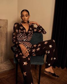 In Spring black hue, the Starlet Jumpsuit features an cinched-in waist, a button down v-neck and floor-grazing hem. A glamorous nod to the collection's vintage racing car inspiration, this resplendent evening jumpsuit features a detailed engineered Laura Bailey, Temperley, Black Jumpsuit, Star Fashion, Fashion Prints, Editorial Fashion, Style Me, Fashion Accessories, Chiffon