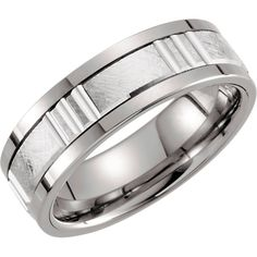 Tungsten & 14kt White 8mm Grooved Ridged Band Size 11 | Stuller