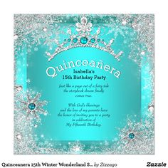 Quinceanera 15th Winter Wonderland Silver Teal 3 Card Teal Blue Winter Wonderland Snowflakes. Princess Quinceanera 15th Birthday Party. Silver White, Floral Silver Tiara. Silver White Lace frame. Party Princess mis quince Party for women or a girl. Invitation Formal Use for any event invitation Customize to change or add details. Customize with your own details and age. Template for Sweet 16, 16th, Quinceanera 15th, 18th, 20th, 21st, 30th, 40th, 50th, 60th, 70th, 80th, 90, 100th, Fabulous…