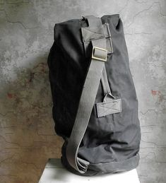 Vintage Canvas Duffel Bag , Heavy Duty Army Canvas Bag , Dark Grey Canvas Bag with Shoulder Strap , Military Duffle Bag Vintage Canvas, Duffel Bag, Vintage Men, Sling Backpack, Dark Grey, Shoulder Strap, Army, Buy And Sell, Military