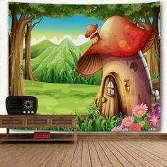 Cartoon Forest Mushroom House Print Wall Art Tapestry - GREEN W71 INCH * L71 INCH