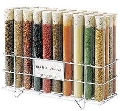 Test tube spice rack. I love the idea of using labware as home decor.